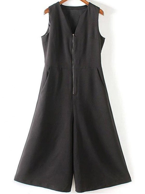 Black V Neck manches jambe large Jumpsuit - Noir M