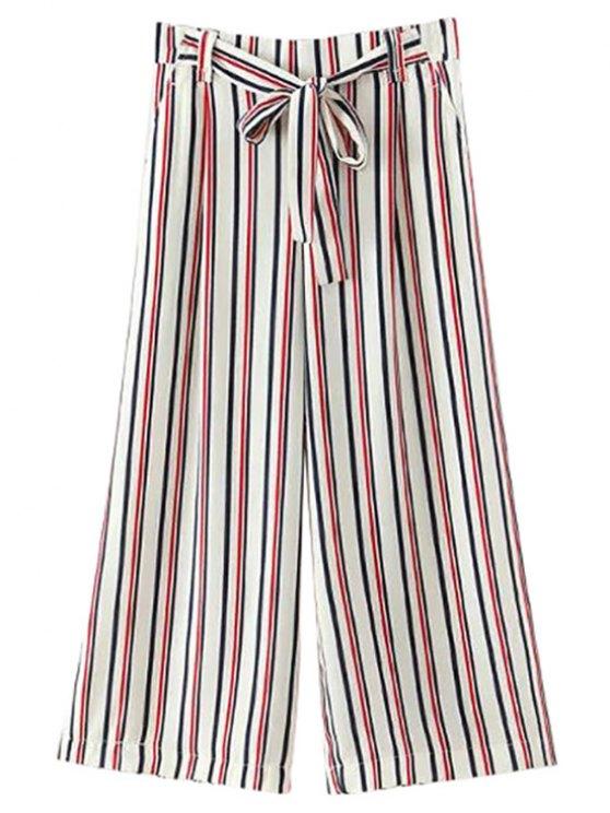 online Self-Tie Striped Wide Leg Pants - WHITE S