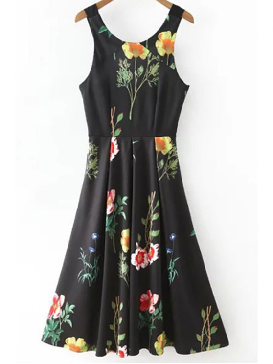 latest Floral Print Scoop Neck Waisted Dress - BLACK S