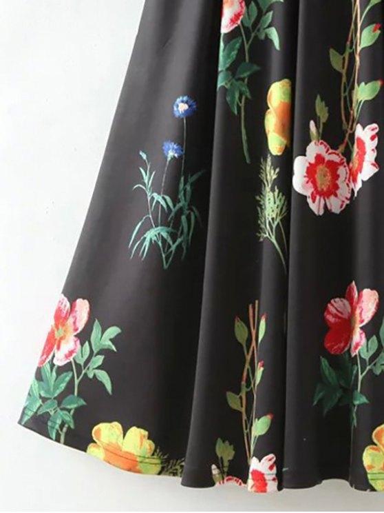 Floral Print Scoop Neck Waisted Dress - BLACK M Mobile