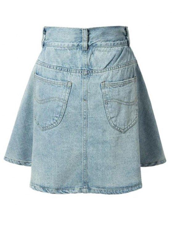A-Line Pocket Design Mini Skirt - LIGHT BLUE S Mobile