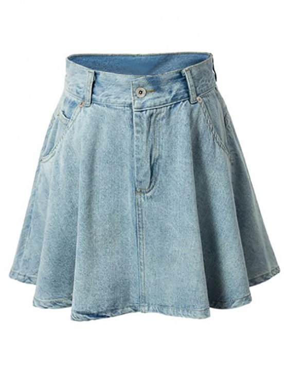 Una línea de diseño del bolsillo mini falda - Azul Claro L