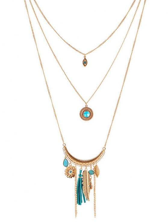 Multilayered Rhinestone Decorated Necklace -   Mobile