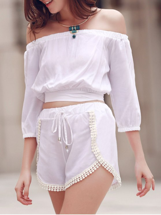 Off The Shoulder Crop Top and Solid Color Shorts Suit - WHITE M Mobile