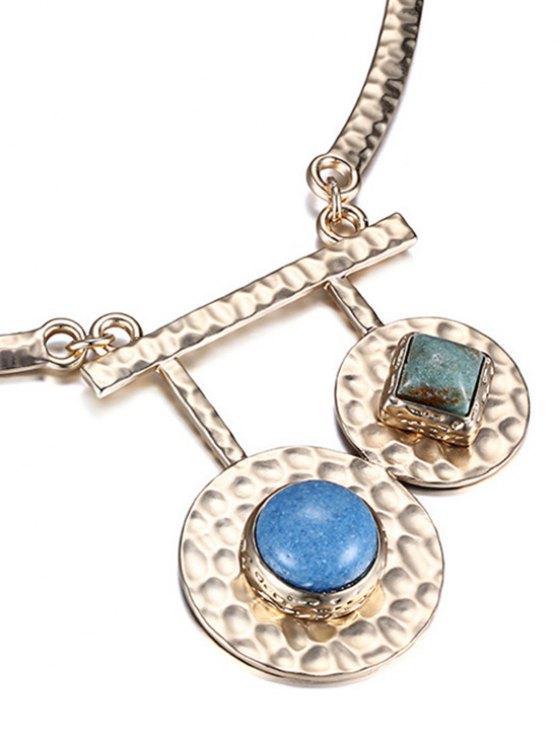 Stylish Stone Decorated Round Necklace -   Mobile