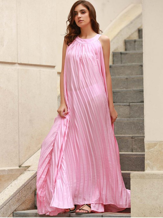 Pleated Flared Long Dress - PINK ONE SIZE(FIT SIZE XS TO M) Mobile