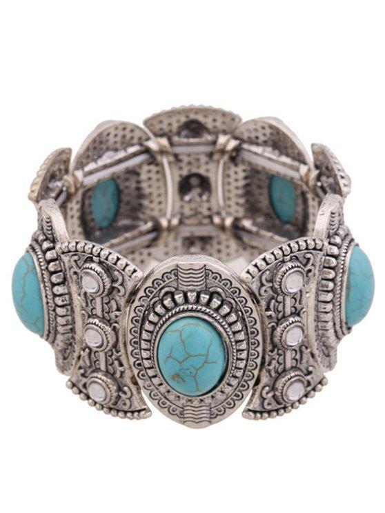 ladies Turquoise Oval Elastic Bracelet - BLUE