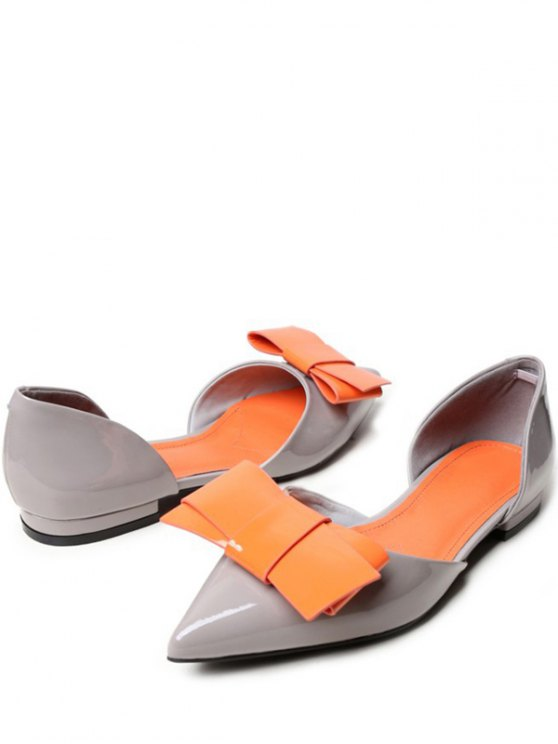 Two-Piece Color Block Bowknot Flat Shoes - GRAY 37 Mobile