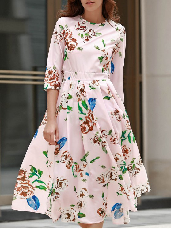 womens 3/4 Sleeve Floral Print Midi Dress - PINK L