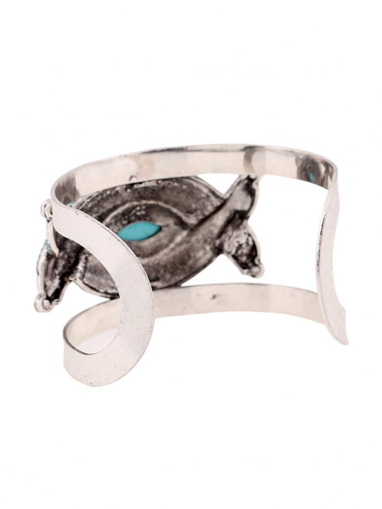 Stone Decorated Oval Cuff Bracelet -   Mobile