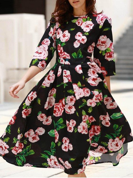 3/4 Sleeve Floral Print Midi Dress - BLACK S Mobile