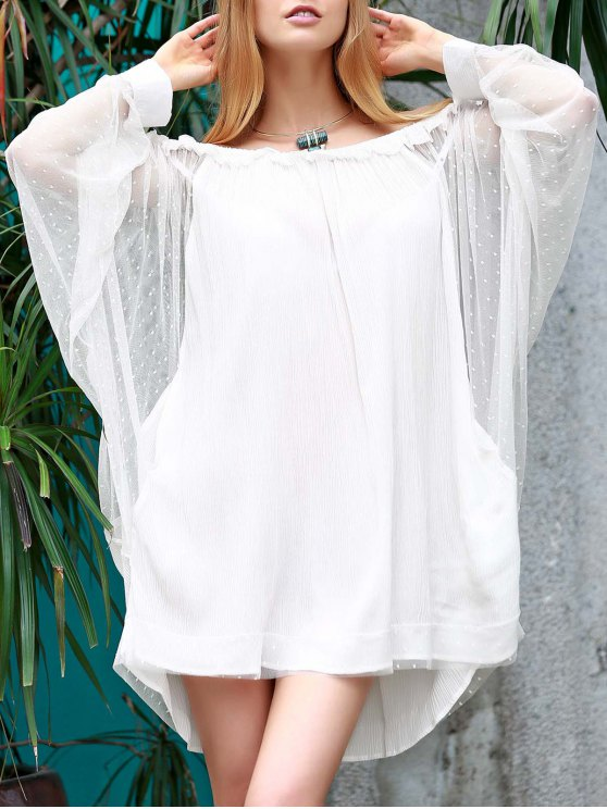 unique Off The Shoulder Loose See-Through Bat-Wing Sleeve Dress - WHITE L