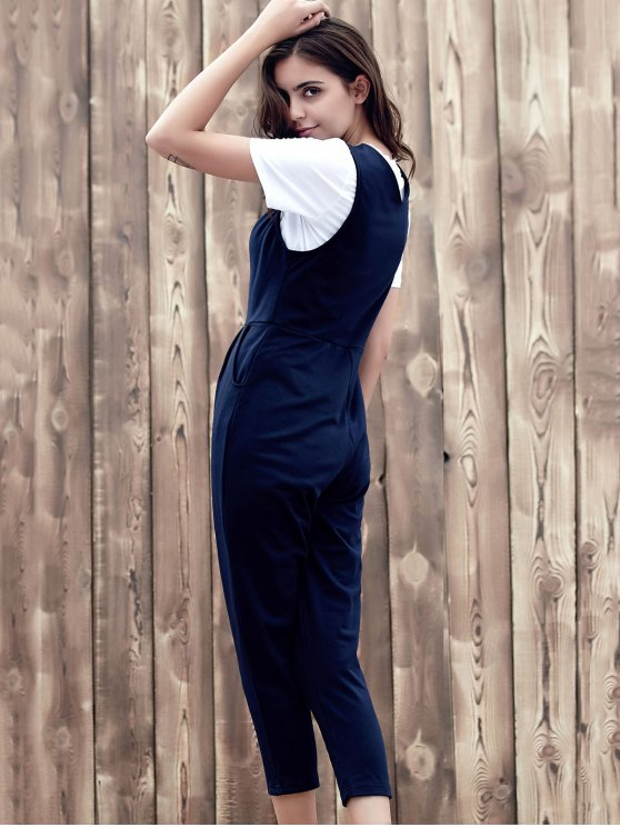 Fitting Solid Color Plunging Neck Sleeveless Jumpsuit - PURPLISH BLUE S Mobile