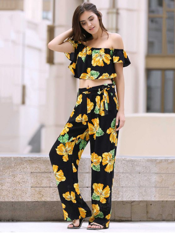Cold Shoulder Ruffle Crop Top and Palazzo Pants Twinset - BLACK S Mobile