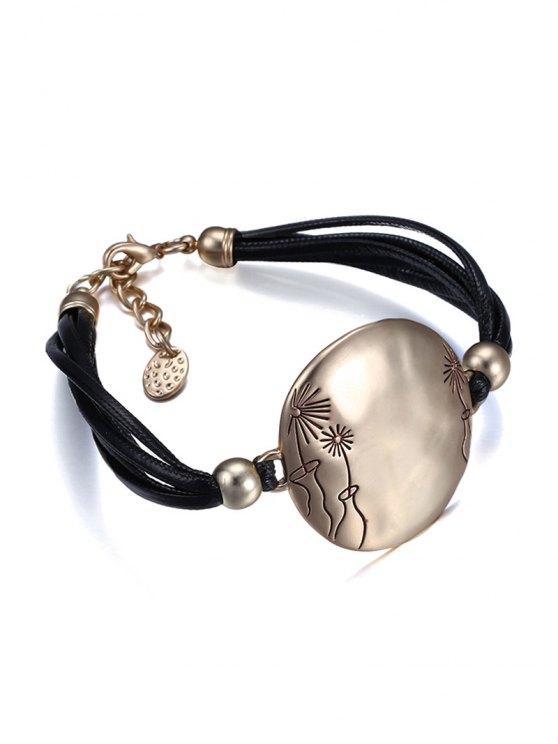 Round Decorated Carving Floral Bracelet - BLACK  Mobile