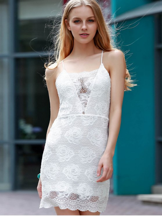 Backless Lace Border Cross Halter Bodycon Dress - WHITE S Mobile