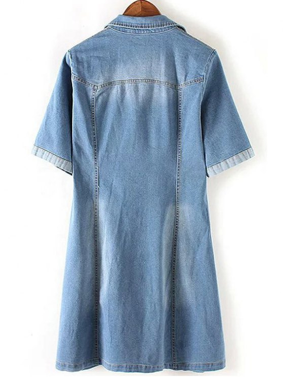 Denim Lace Up Turn Down Collar Short Sleeve Dress - BLUE L Mobile