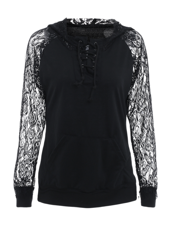 Openwork Lace Spliced Lace-Up Long Sleeves Sweatshirt - BLACK L Mobile