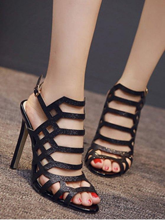 Peep Toe Sequined Stiletto Heel Sandals - BLACK 39 Mobile