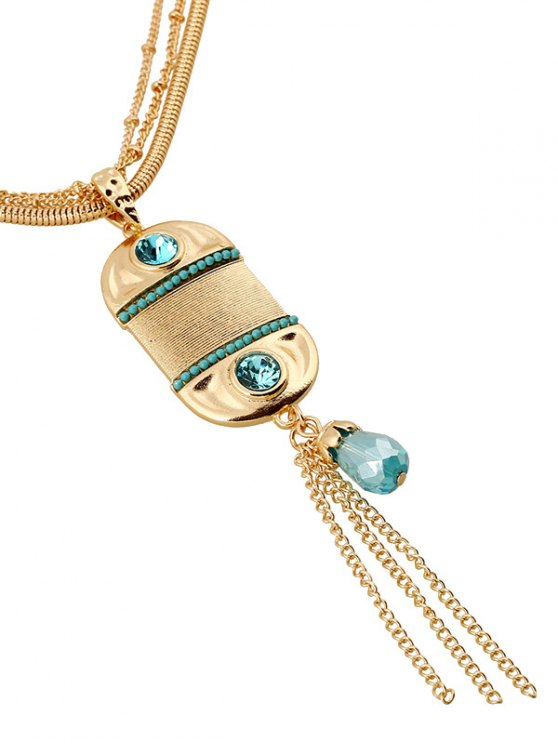 Faux Beryl Tassel Multilayered Necklace -   Mobile