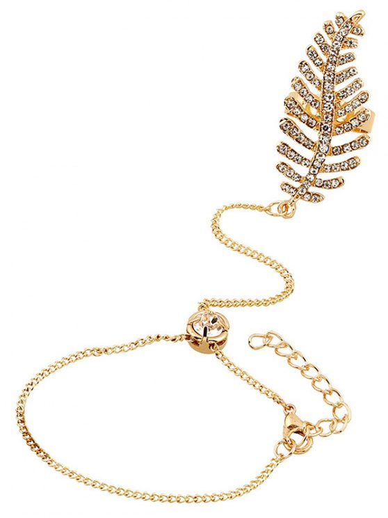 Leaf Rhinestone Ring With Wrist Chain - GOLDEN  Mobile