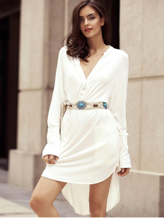 High Low Shirt Dress - WHITE M Mobile
