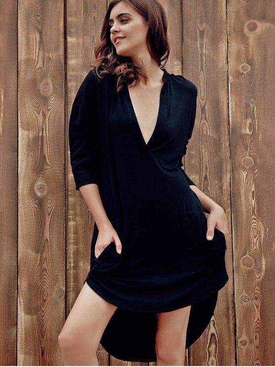 High Low Shirt Dress - BLACK 2XL Mobile
