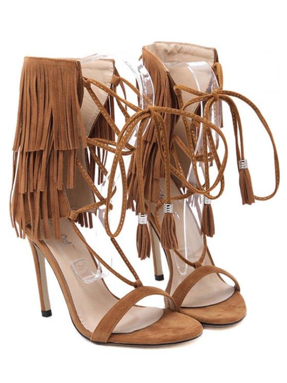 Fringe Lace-Up Stiletto Heel Sandals - BROWN 36 Mobile