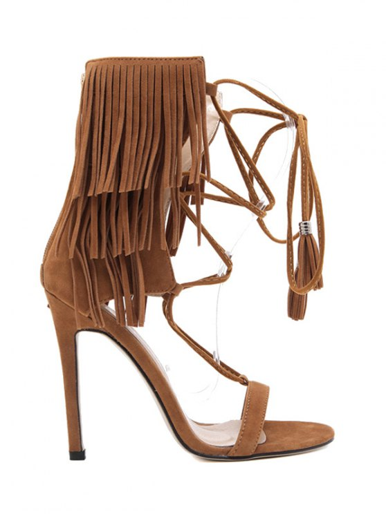 Fringe Lace-Up Stiletto Heel Sandals - BROWN 40 Mobile