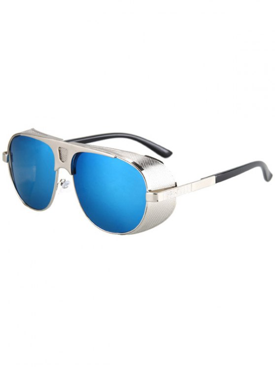 Hollow Out Hole Silver Metal Sunglasses - BLUE  Mobile