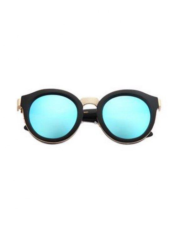 best Black Frame Metal Splicing Sunglasses - LIGHT BLUE