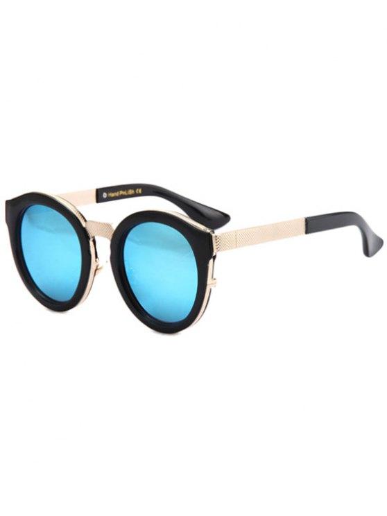 Black Frame Metal Splicing Sunglasses - LIGHT BLUE  Mobile