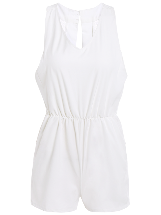 Lace Spliced V-Neck Cut Out Romper - WHITE XL Mobile