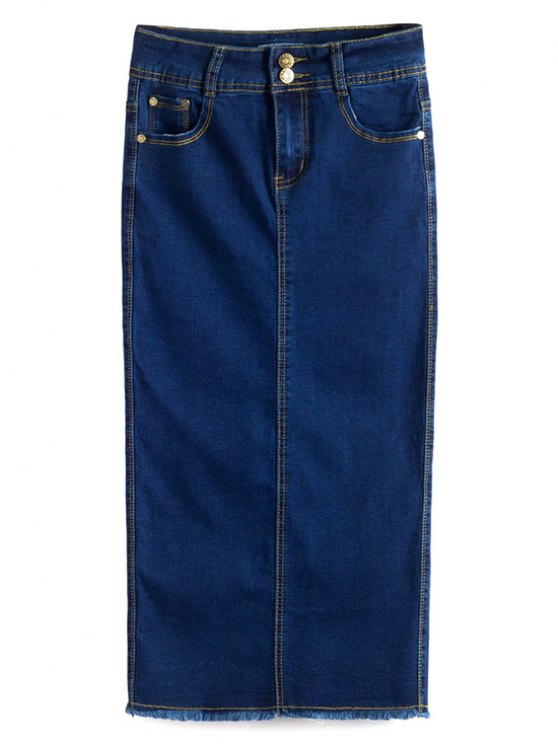 women Fitted Packet Buttock High Waist Denim Skirt - DEEP BLUE S
