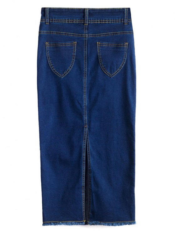 Fitted Packet Buttock High Waist Denim Skirt - DEEP BLUE XL Mobile