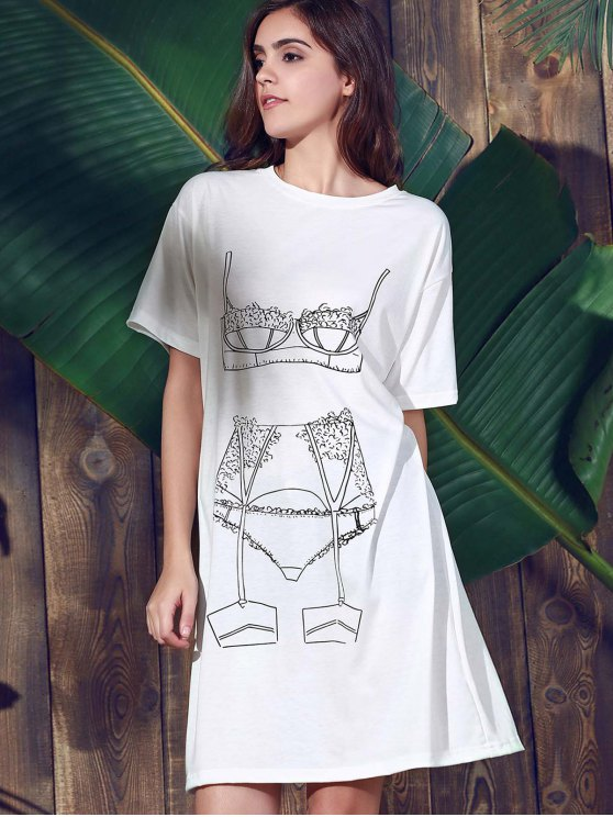 Casual Loose Printed Round Neck Short Sleeve Dress - WHITE 2XL Mobile