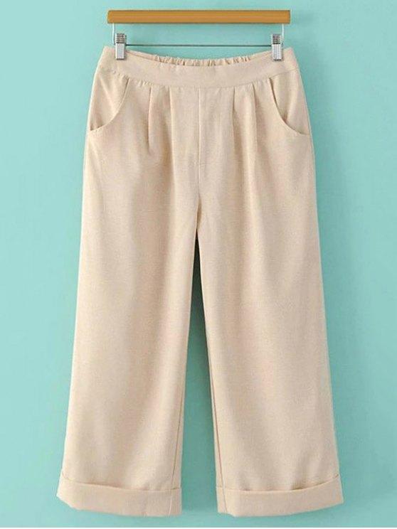womens Elastic Waist Wide Leg Capri Pants - BEIGE L