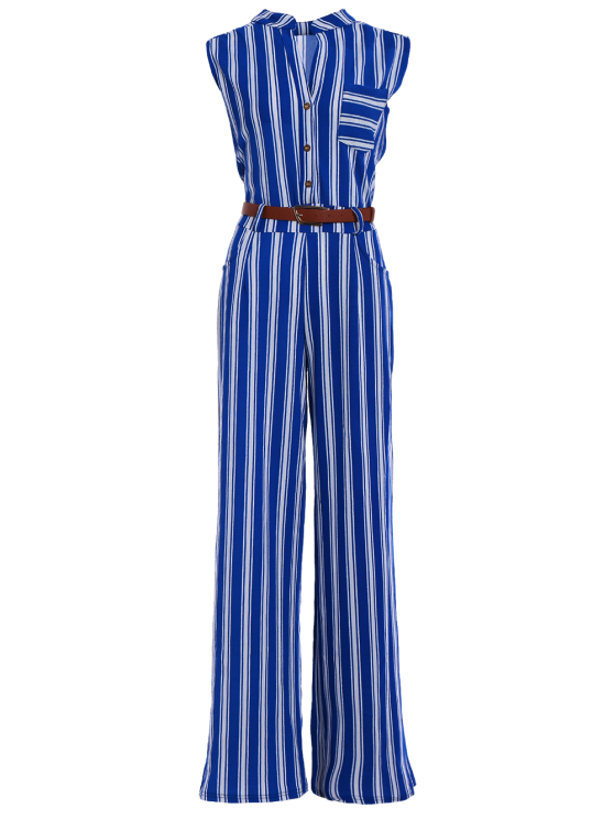 Striped Belted Plunging Neck Sleeveless Jumpsuit - BLUE M Mobile
