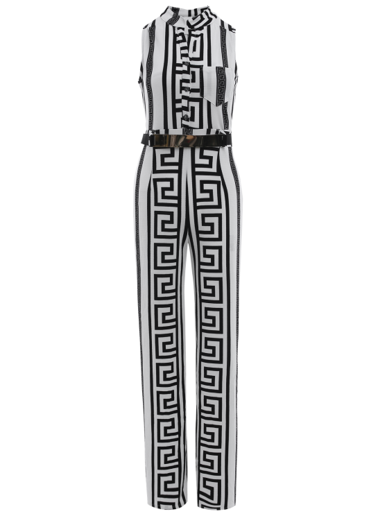 shops Printed Stand Neck Sleeveless Jumpsuit - WHITE M
