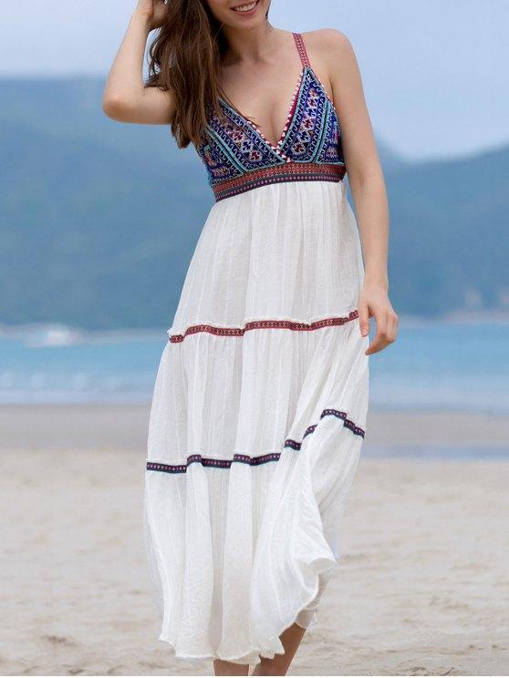 Bordado con cuentas vestido sin mangas Cami - Blanco L
