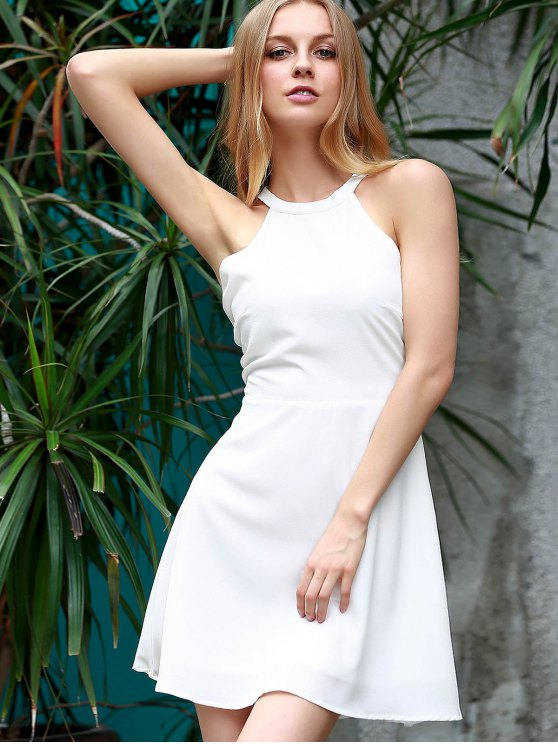 Backless Hollow Out Round Neck Sleeveless Dress - WHITE XL Mobile