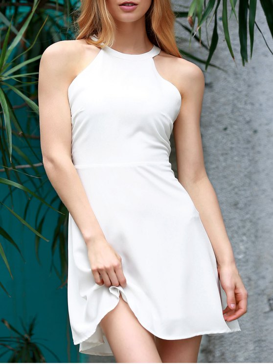 Blanco sin espalda ahueca hacia fuera el vestido sin mangas de cuello redondo - Blanco XL
