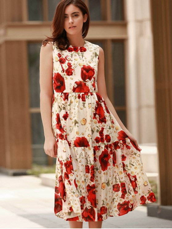 Folded Floral Print Round Neck Sleeveless Dress - RED S Mobile