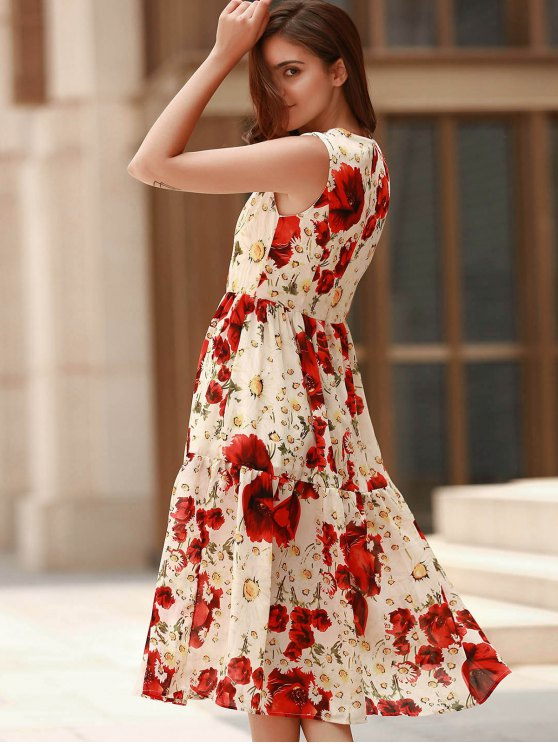 Folded Floral Print Round Neck Sleeveless Dress - RED XL Mobile