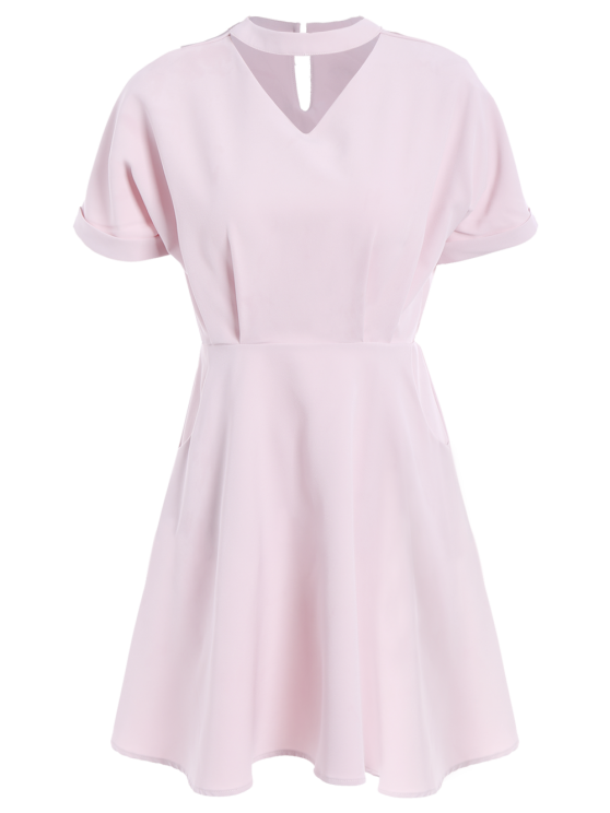 A Line Short Sleeve Choker Dress - PINK L Mobile