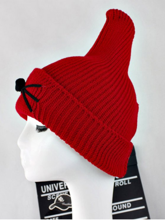 Warm Cat Beard Shark Fin Shape Knit Hat - RED  Mobile