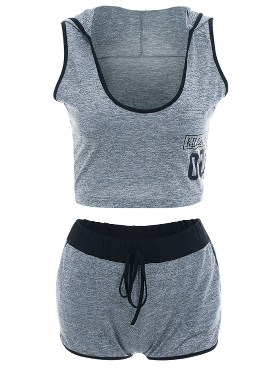Letter Print Hooded Sleeveless Crop Top and Drawstring Shorts - GRAY S Mobile