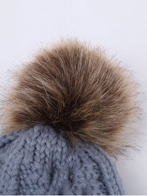Winter Stripy Flanging Pom Hat -   Mobile