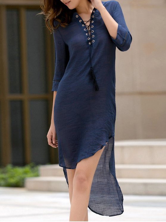 fancy High Low Hem Plunging Neck Dress - DEEP BLUE L