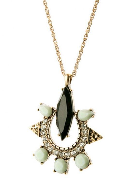 Faux Gemstone Rhinestone Necklace -   Mobile